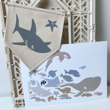 Canvas Banner - Shark & starfish